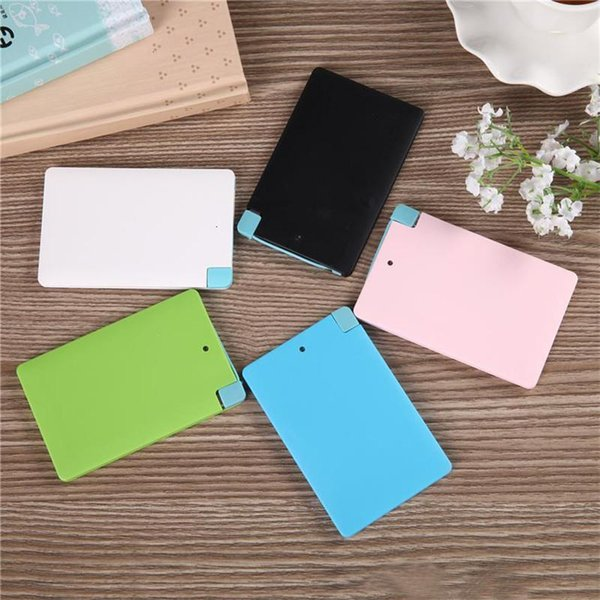 2600 mah Ultra Thin Credit Card Mobile Power Bank Polymer with Built In USB Cable Pocket Power External Battery Charger for iphone 7 6 6s S7