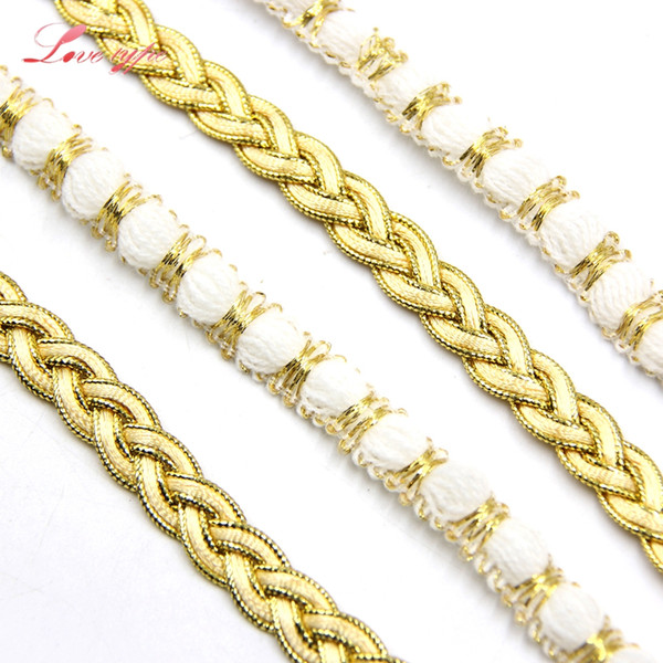5Yards White&Gold Lace Ribbon Soft Net Lace Trim Fabric Handmade Craft Home Wedding Supplies DIY Decoration Sewing Accessories
