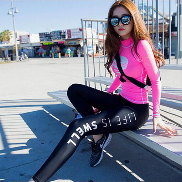 Coréia do sul versão mulheres correndo define roupa de jogging terno feminino compressão apertado ginásio fitness sportswear