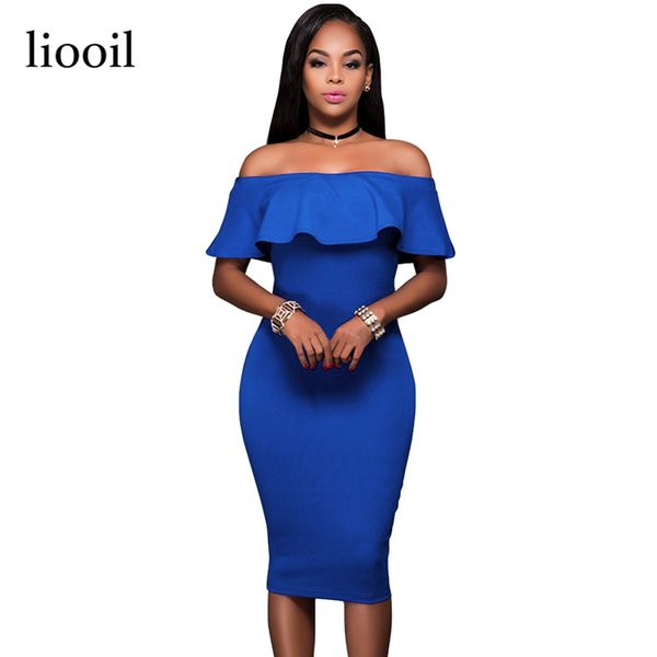 Liooil 2018 Summer Royal Blue Off The Shoulder Midi Bodycon Dress Sexy Ruffles Strapless African Women Celebrity Party Dresses D1891701