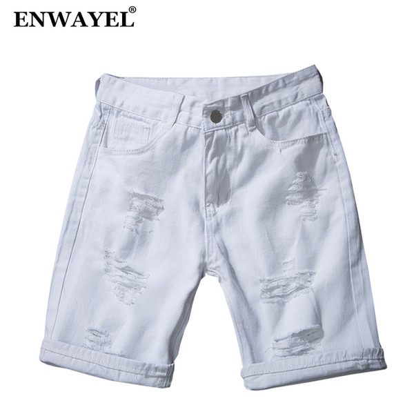 ENWAYEL Summer Stretch Casual Jeans Shorts Men Trousers Hole Ripped Distressed Short Denim Male Hip Hop Streetwear Black White