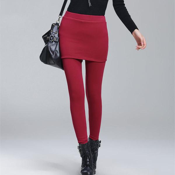 Добавить Флис Леди теплые узкие брюки плюс размер S-4XL Юбка + длинные брюки женские черные зимние леггинсы S18101506