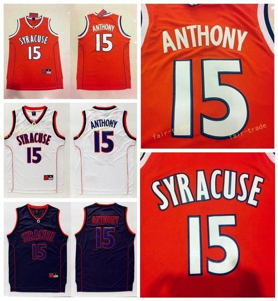 Qualidade Superior Syracuse Colégio NCAA # 15 Carmelo Anthony Jersey Laranja Preto Branco Mens Carmelo Anthony Colégio De Basquete Jerseys Costurado