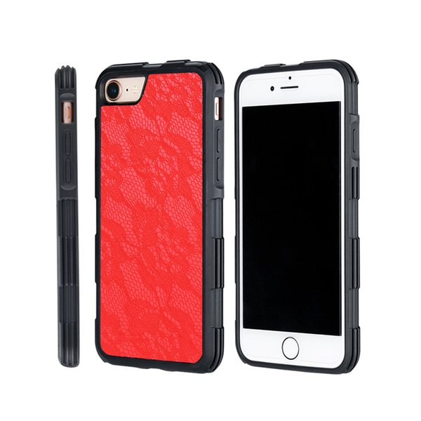 Handmade Lace Pattern Leather Cell Phone Case for Iphone 6 7 8 Plus Hard Back Cover Case Shell