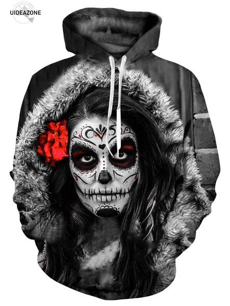2018 EU Size New Hot Design Band Men Hoodies Hip Hop 3D Skull Back Printed Pocket Sweatshirt Homme Casual Pullover Tracksuits