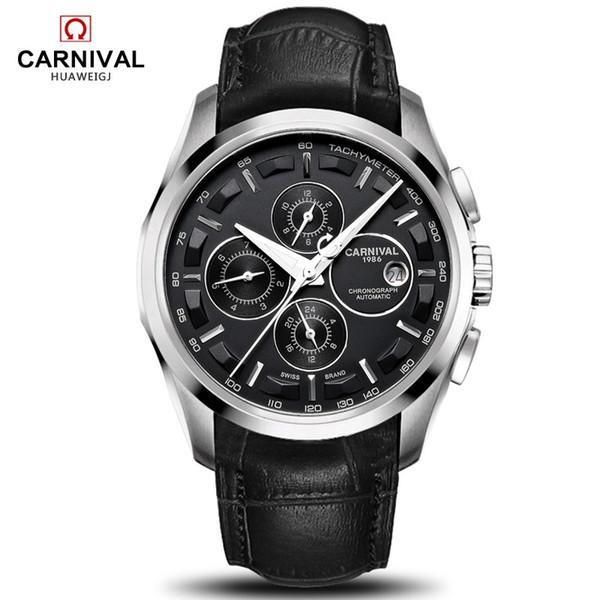 Relogio masculino Novo Carnaval Relógios Automáticos Homens Relógio Mecânico Pulseira De Couro Resistência À Água 8659G relógio de pulso de safira