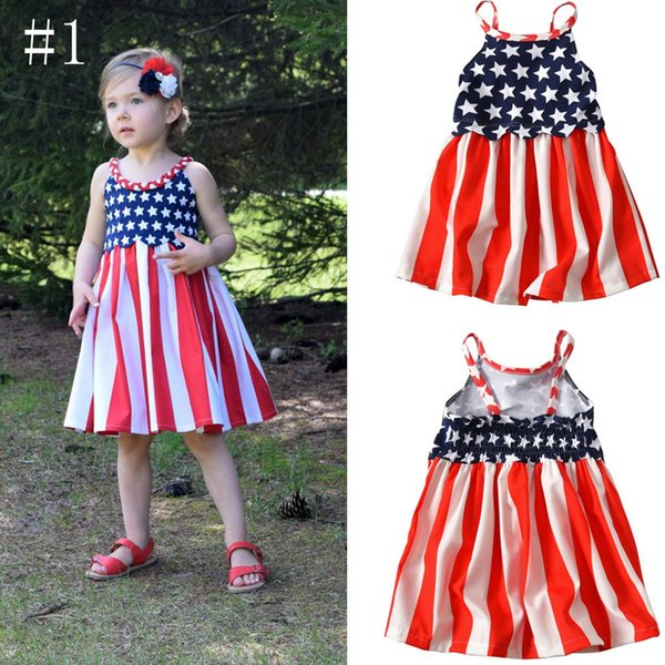 New fashion American flag dresses baby Girl American flag 4th of July Independence Day celebration Sleeveless round neck dress A9441