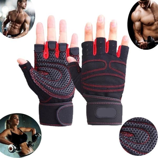top popular Men Women Half Finger Fitness Gloves Weight Lifting Gloves Protect Wrist Gym Training Fingerless Weightlifting Sport Gloves 2021