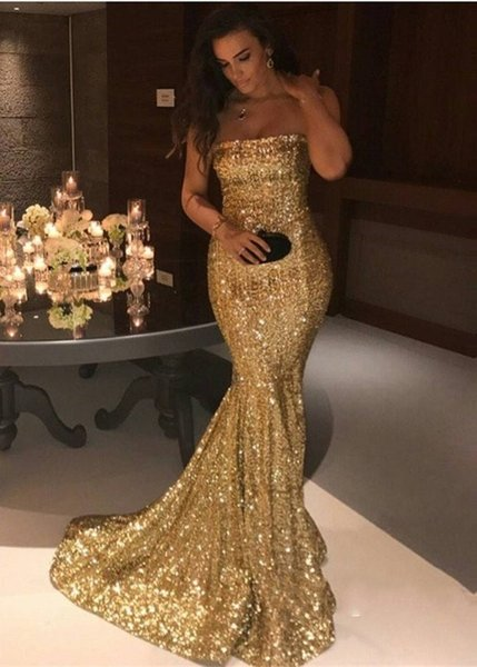 New Sparkly Gold Sequined Evening Dresses 2018 Strapless Mermaid Sweep Train Modest Arabic Plus Size Prom Party Wear Prom Gowns Customized