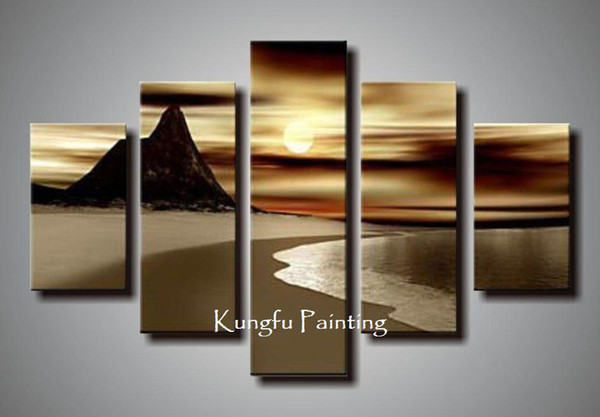 natural natural scenery 100% hand painted discount wall art 5 panel oil painting canvas art seascape