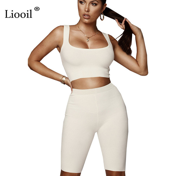 a6bdfa7722c0 Liooil Sexy Club Plus Size 2 Piece Spaghetti Strap Bodycon Women Playsuits  Sleeveless Black White Party Rompers Womens Jumpsuit