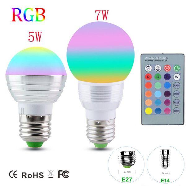 Regulable RGB LED bombilla E27 E14 Lámpara de decoración navideña navideña 5W 7W AC110V 220V Soptlight luz nocturna + controlador IR
