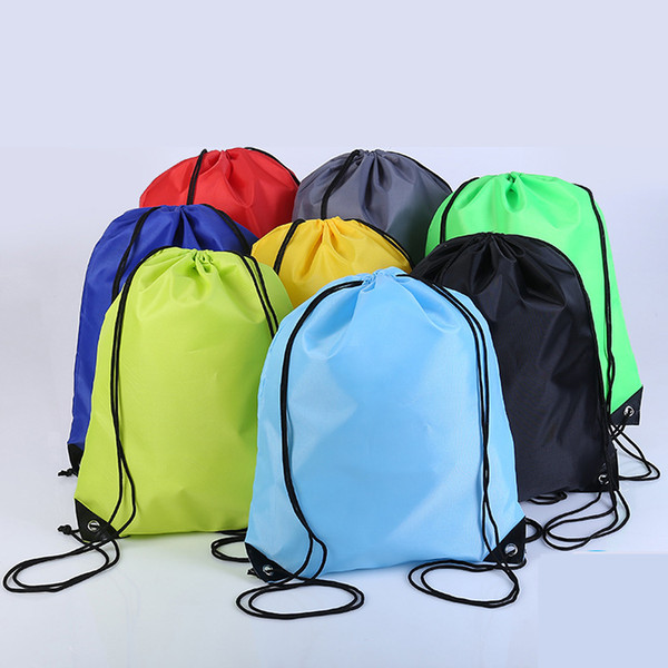 Fashion colorful customized 420 polyester fiber pocket bag kids clothing shoes bags school rope frozen sports stadium nylon dance backpacks