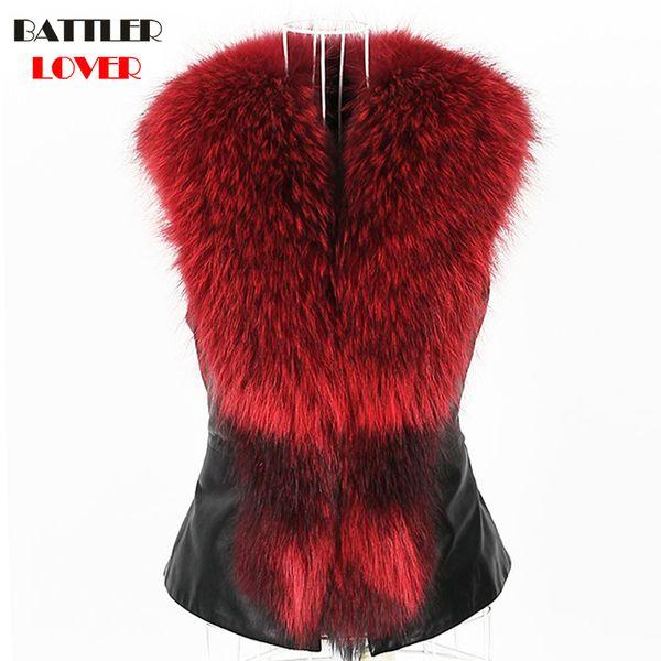 Luxury Fox Fur Vest Winter Sleeveless Giacche Donna Gilet di pelliccia di procione Giacca donna Gilet Mujer Femme Damen Pelzmantel Fall Weste