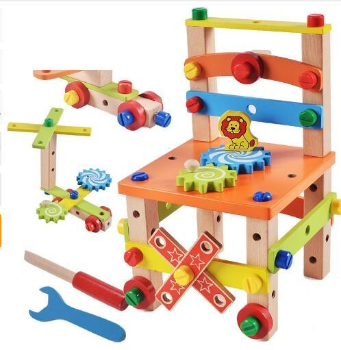 Diy Wooden Toy Assembled Variety Tool Chair For Children Multifuncation Tool Chair Intelligence Kids Toys 36 28 5 6cm Boys Learning Toys Kindergarten