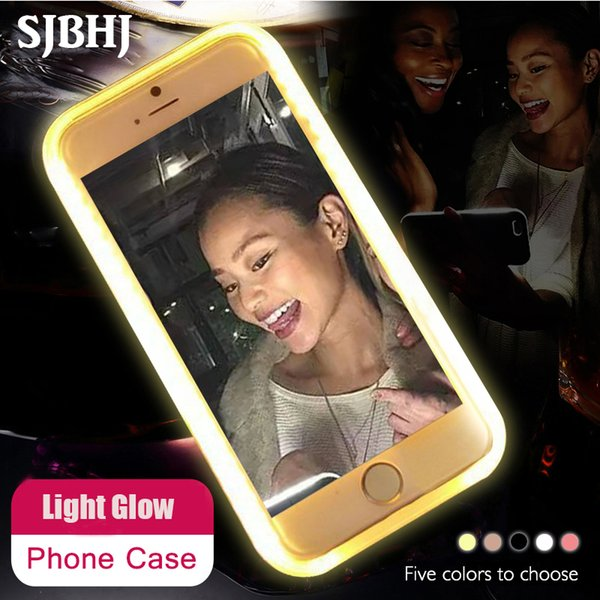 Luxury Luminous Led Phone Case For iPhone 6 6s 7 8 Plus X Flash Selfie Light Up Glowing Case Cover for iPhone 5 5s SE Phone Bag