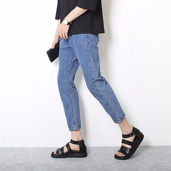 High quality 2018 wholesale Men's Solid cowboy Casual jeans men hip hop tennagers students harem pants blue denim trousers