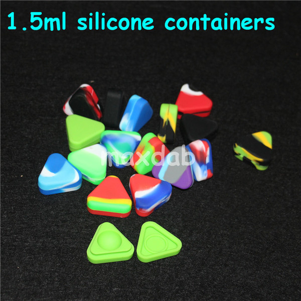 Triangle Silicone Wax Container Box 1.5ml Silicone Jars Dry Herb Wax Box Container Dab Non Solid Color & Pure Color silicone water pipe