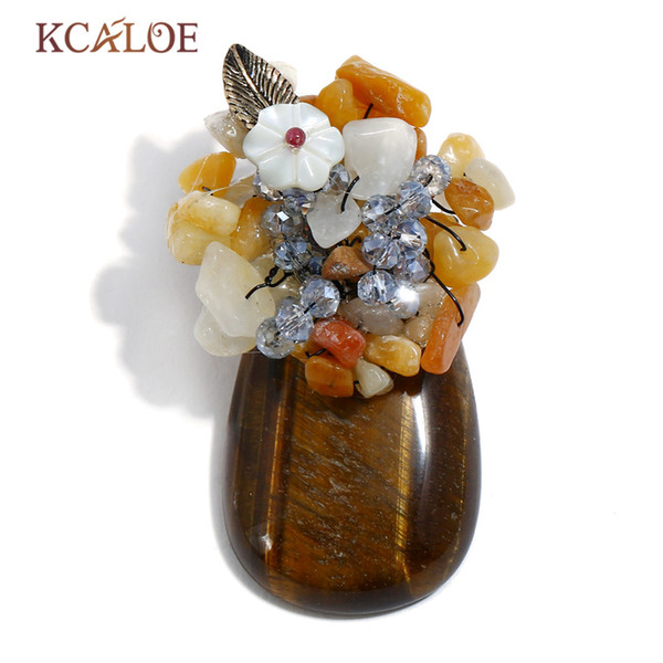 wholesale Tiger Eye Stone Pins And Brooches For Women Multicolor Natural Stones Handmade Brooch Pins Shell Flowers Crystal Pin