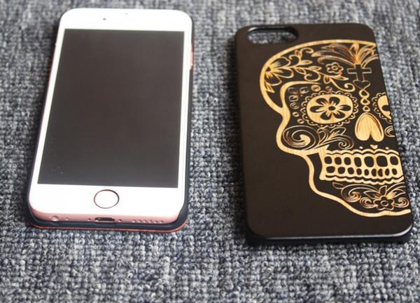 Genuine rosewood case para iphone 6 6 s hard cover escultura de madeira escudo do telefone para iphone 6s preto de bambu luxo real protetor de telefone de madeira