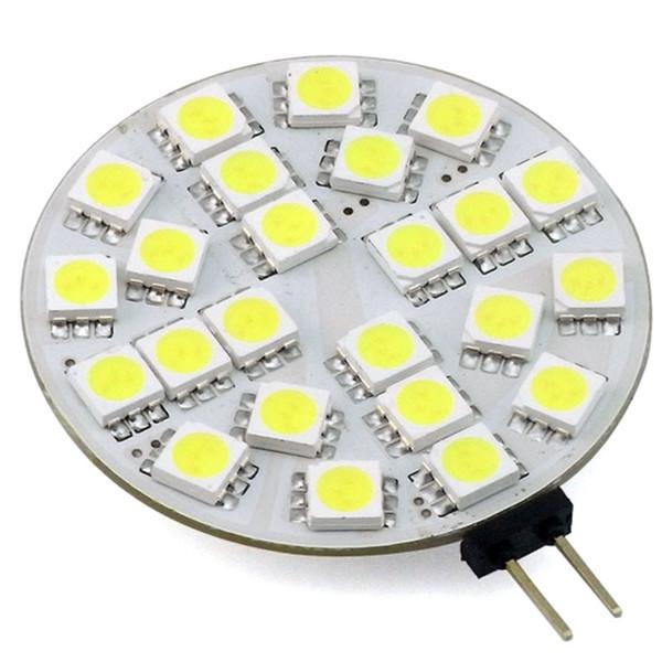 Luces de la cubierta de la campana redonda del disco de G4 LED 12V 24V AC / DC Lámpara de la lámpara del gabinete de techo 24/30 LED 5050/3014 3W Blanco Blanco cálido
