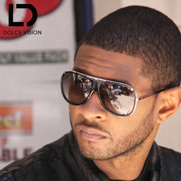 DOLCE VISION Luxury Male Pilot Sunglasses Diseñador de la marca de moda Ovresize Sun Glasses For Men 2018 Black Gradient Lunette Oculos