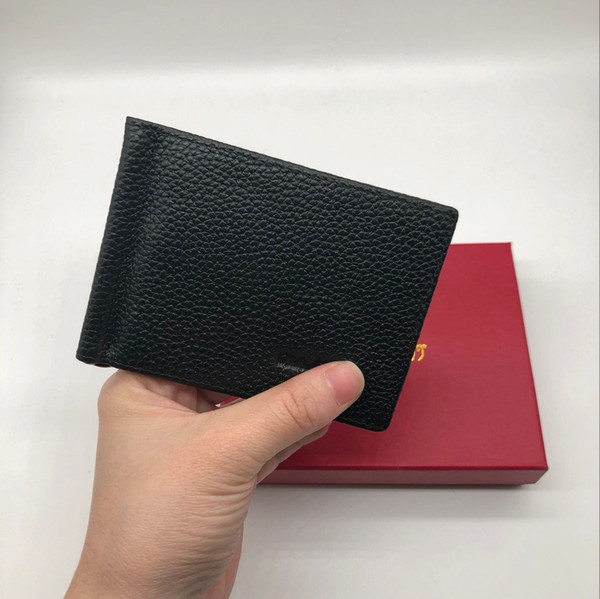 Classic Black Leather Credit Card Holder Wallet Luxury Brand Business Men's Wallet Dollar Clip F Fashion ID Card Pocket