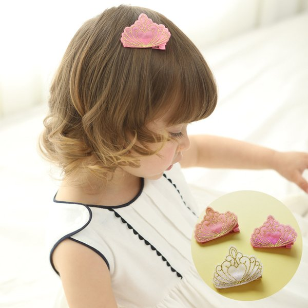 20pcs/lot New Baby Embroidered Crown Girls Hair clips Kids Summer Style Hair Clips Cartoon Crown Cute Kids Hairpins