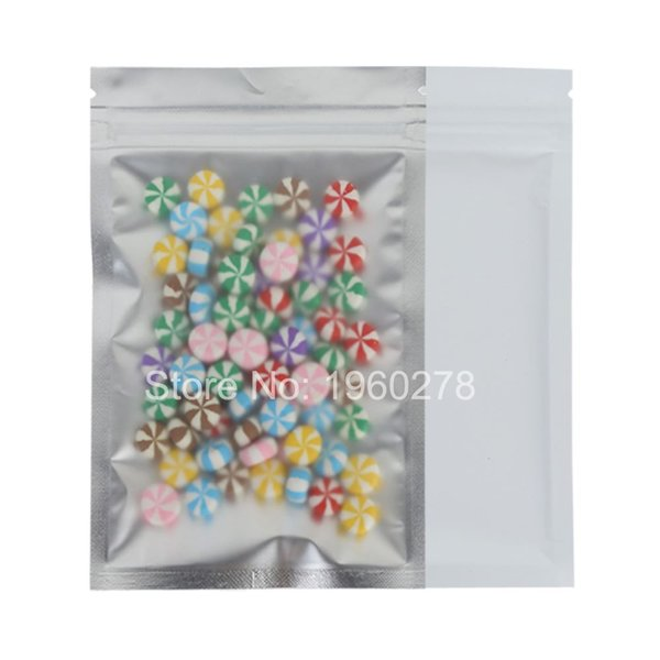 """New Product 8.5x13cm (3.3x5.1"""") Matte Clear/Silver/White Reclosable Mylar Packing Translucent Zip Lock Storage Bag Pouch"""