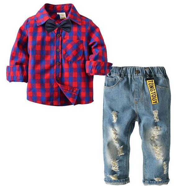 baby boy vestiti camicia a quadri in cotone a maniche lunghe con papillon pantaloni in denim a buon mercato 2 pacco stile europeo primavera autunno abbigliamento