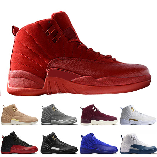 12 12s mens basketball shoes Wheat Dark Grey Bordeaux Flu Game The Master Taxi Playoffs PSNY Purple Blue Red Suede trainers Sports sneakers