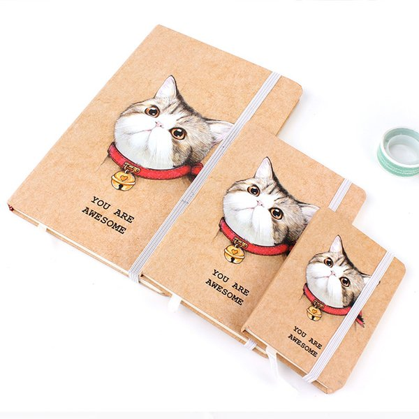 Hard Cover A5 Cute Cat Design Notebook Portable Notepad Elastic Bandage Student Diary Journal