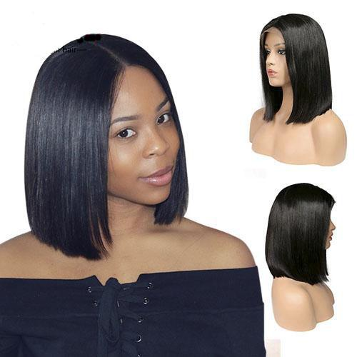 African Bob short straight glueless braziian virgin hair full lace wig human hair wigs for black women 13x6 lace front wigs lacefront wig