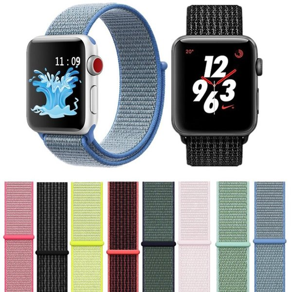 Fashion Sport Nylon Loop Watch Strap Band Adjust Clasp Soft Wrist Strap Bands Series 3 2 1 42mm 38mm