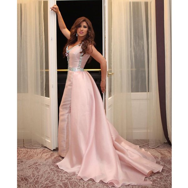 Dubai Arab Special occasions dress V Neck Pink prom dresses mermaid Women Formal Gowns with Court Train Custom Made Celebrity Party Dress