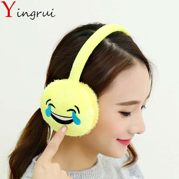 Invierno Keep Warm Women Earmuffs Niñas Plush Emoji Face Lovely Funny Expresión Otoño Soft Ear Muffs Cómodo Ear Cover