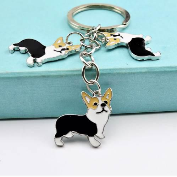 Metal PET Key Chain welsh Corgi Dogs Key Ring Bag charm Wholesale Lovely Keychain Car Keyring gift Women Jewelry Drop shipping