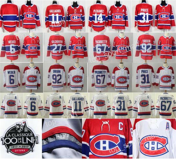 Montreal Canadiens Trikots Hockey 11 Brendan Gallagher 31 Carey Preis 27 Alex Galchenyuk 6 Shea Weber 92 Jonathan Drouin Tomas Plekanec Rot