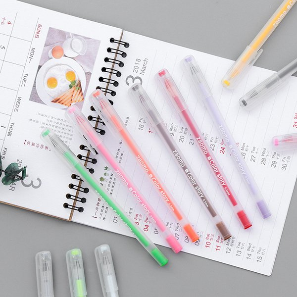 12 colors Ink pens color pen Gel Pen Kawaii Writing painting drawing School Stationery Office Supplies Candy jelly Color Refill