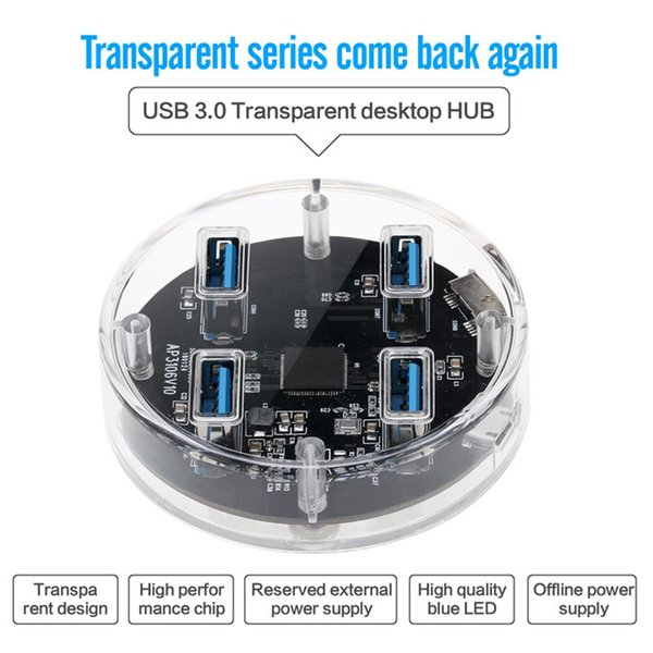 High Speed 4 Port USB 3.0 Multi HUB Splitter Expansion Desktop PC Laptop Adapter Clear transparent HUB