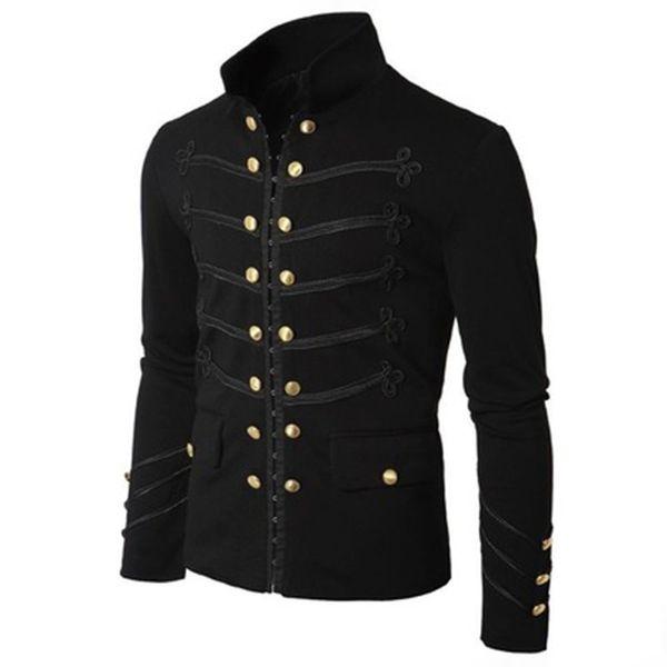 Plus la taille noire veste gothique manteaux hommes Vintage JACKSON Style broderie bouton Angleterre Rétro poche Outwear vestes manteau