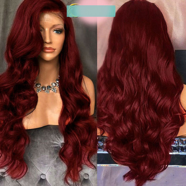 Fashion top 100% unprocessed virgin remy human hair long burg aaa colorful long body wave full lace wig cheap for women