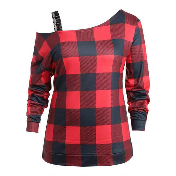 2019 Female sweatshirt Women Plus Size Casual Plaid Long Sleeve Cold Shoulder Lace Splice Sweatshirt woman Female coat