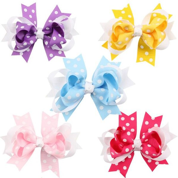 5 colors Dots Hair Bows Pink/Yellow/Blue/Purple/Rose Pink Hairpin Stacked Boutique Kids Bows Hair Clips For Girls Hair Accessories