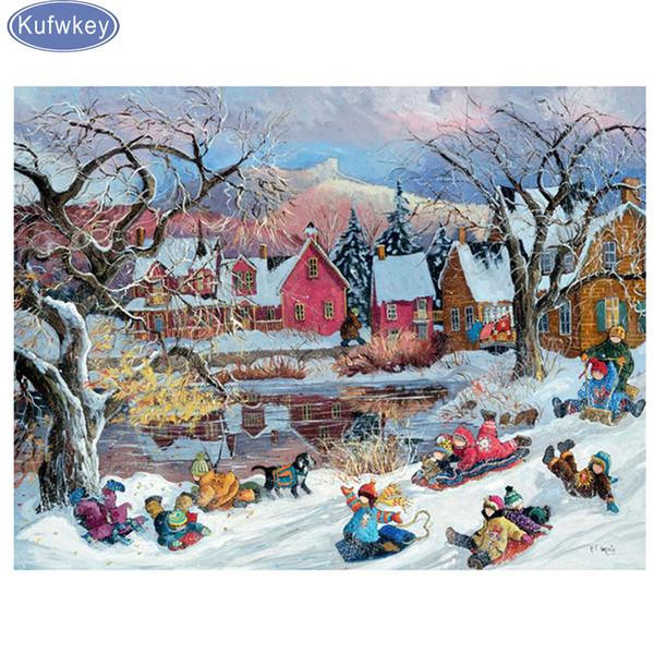 Full,Diamond Embroidery,5D,Diamond Painting snow winter scenery picture,Stitch Cross,3D,Diamond Mosaic,Needlework,Crafts,gifts