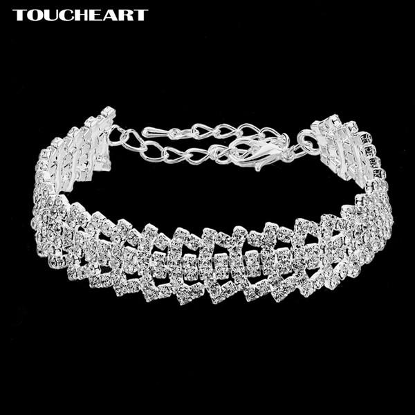 TOUCHEART 2018 Luxury Crystal Charm Bracelets Bangles Para Las Mujeres de color Plata Pulseras Femme Nupcial Joyería de La Boda SBR170073