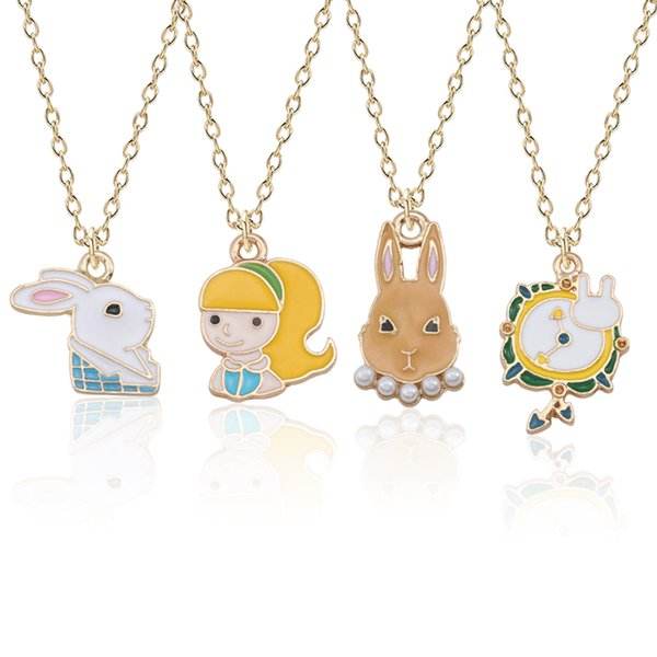 Kawaii Alice Clock Rabbit Necklace For Women Enamel Animal Bunny Girl Necklaces Pendants Fashion Alice In Wonderland Jewelry Wholesale