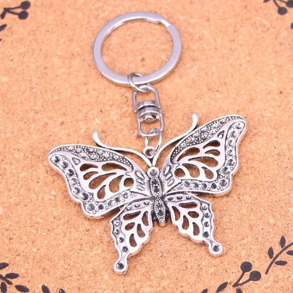 Nuevo diseño hueco mariposa llavero llavero llavero llavero colgante de plata para hombre mujer regalo