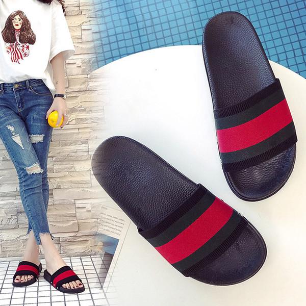 2018 дизайнер дом тапочки для женщин сандалии женская мода зеленый красный полосатый тапочки лето нескользящей дизайнер пляжные тапочки L-51