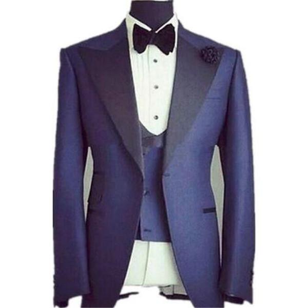 2f844bbf083c2 Trajes de hombres de desgaste formal slim fit azul para la boda 3 piezas  (chaqueta